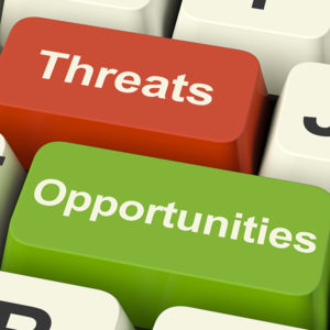 Industry Associations Threats and Opportunities keys on a keyboard